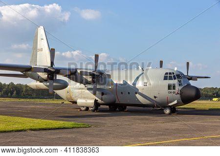 Kleine Brogel, Belgium - Sep 13, 2014: Belgian Air Force Lockheed C-130h Hercules Transport Plane On