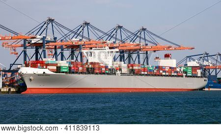 Rotterdam, Netherlands - Mar 16, 2016: Container Ship Moored At The Euromax Container Terminal In Th