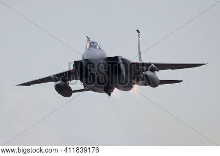 Leeuwarden, Netherlands - Apr 8, 2016: Massachusetts Air National Guard F-15c Take Off From Leeuward