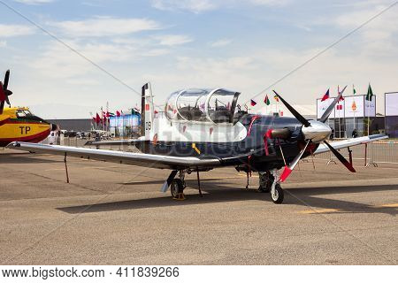 Marrakech, Morocco - Apr 28, 2016: Royal Moroccan Air Force Beechcraft T-34 Mentor Training Plane On