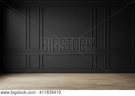 Classic Black Empty Interior With Wall Panels, Moldings And Wooden Floor. 3d Render Illustration Moc