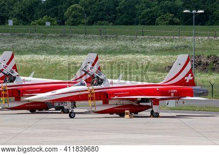 Berlin, Germany - Jun 2, 2016: Patrouille Suisse Aerobatic Team Northrop F-5e Tiger Ii Fighter Jet O