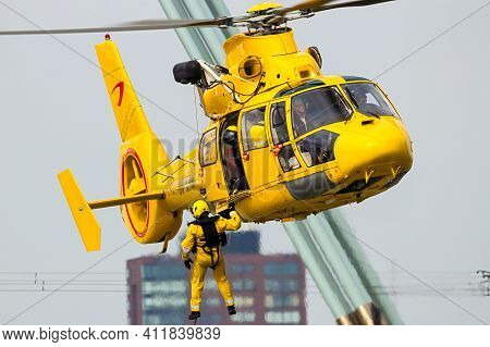 Eurocopter As365 Daupin Rescue Helicopter From Nhv-noordzee Helikopters Rescue Operation. September