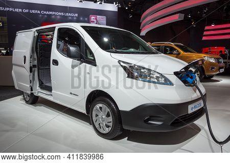 Hannover, Germany - Sep 21, 2016: Electric Nissan E-nv200 Van On Display At The International Motor