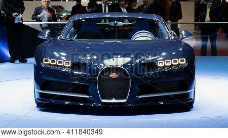 Geneva, Switzerland - March 7, 2017: New Bugatti Chiron Sports Car Presented At The 87th Geneva Inte