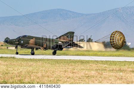 Hellenic Air Force Rf-4e Phantom Ii Reconnaissance Jet Plane Landing With Brake Parachute At Larissa