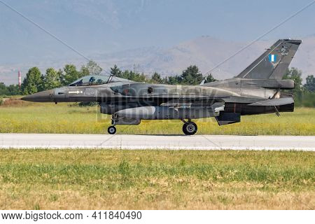 Hellenic Air Force F-16 Fighter Jet Arriving At Larissa Airbase. Greece - May 4, 2017.
