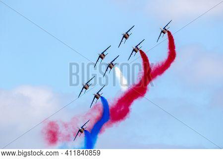 Paris-le Bourget, France - Jun 23, 2017: French Patrouille De France Aerobatics Airshow Team Perform