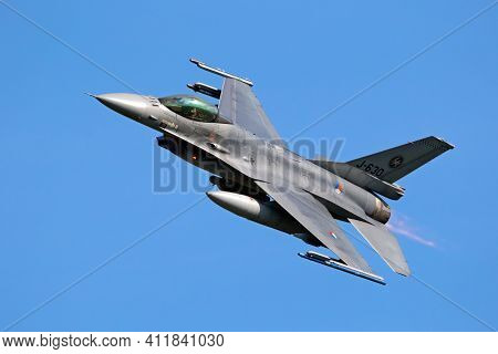 Leeuwarden, The Netherlands - April 19, 2018: Royal Netherlands Air Force F16 Fighter Jet Aircraft T