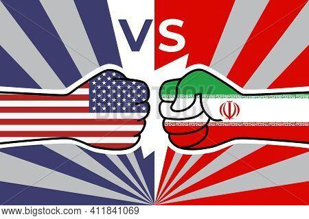 Usa Flag Fist Vs Iranian Flag Fist. American Iranian Military Confrontation. United States Versus Ir