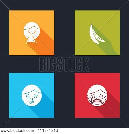 Set Handkerchief To His Runny Nose, Kidney Beans, Runny And Face In Protective Mask Icon. Vector