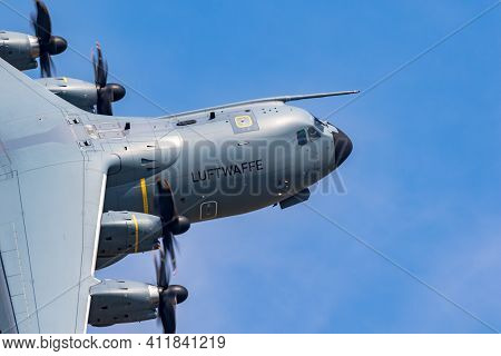 German Air Force Luftwaffe Airbus A400m Military Transport Plane Tanking Of From Wunstorf Airbase. G