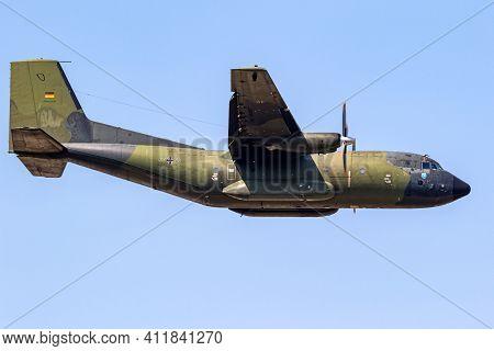 German Air Force Luftwaffe Transall C-160 Military Transport Plane In Flight. Germany - June 9, 2018