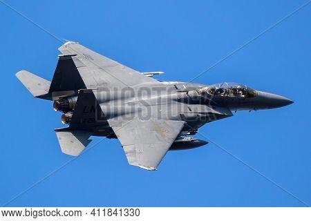 Lakenheath, Uk - Jul 12, 2018: Us Air Force F-15e Strike Eagle Bomber Jet Airplane From 492nd Fighte