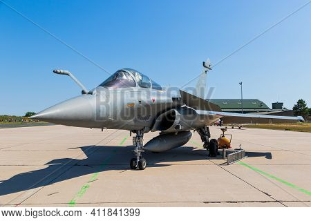 Nancy, France - Jul 1, 2018: French Air Force Dassault Rafale Fighter Jet On The Tarmac Of Nancy Air