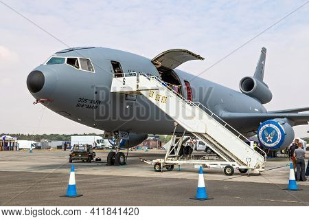 Fairford, Uk - Jul 13, 2018: Us Air Force Kc-10a Extender Tanker Aircraft On Display At Raf Fairford
