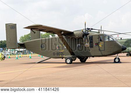 Fairford, Uk - Jul 13, 2018: Shorts Sc-7 Skyvan Transport And Skydiving Plane On Display At Raf Fair