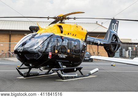 Fairford, Uk - Jul 13, 2018: Raf Airbus H145 Jupiter Ht.1 Helicopter From The Defense Helicopter Fly