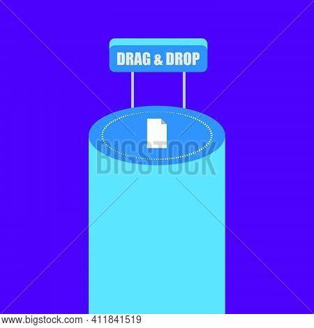 Drag And Drop Concept Background. Upload Symbol. Logo Design Element