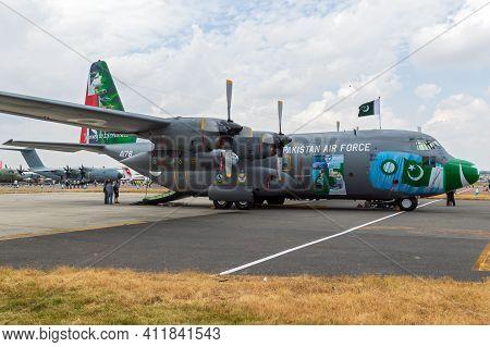 Fairford, Uk - Jul 13, 2018: Pakistan Air Force C-130 Hercules Transport Plane On Display At Raf Fai