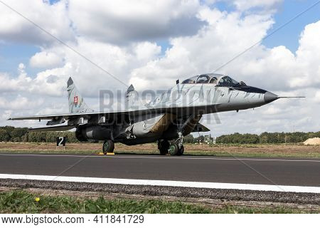 Kleine Brogel, Belgium - Sep 8, 2018: Slovak Air Force Mig-29 Fulcrum Fighter Jet Aircraft On The Ta