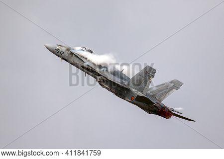 Kleine Brogel, Belgium - Sep 8, 2018: Spanish Air Force Mcdonnell Douglas F-18 Hornet Fighter Jet Ai