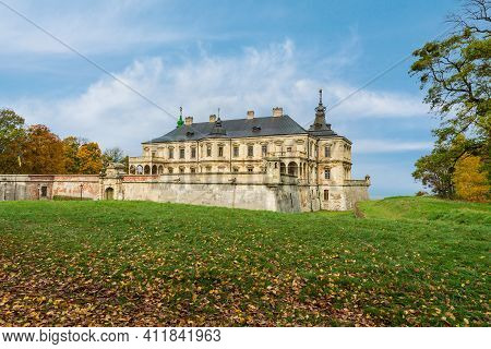 Palace With Bastion Fortifications. Pidhirtsi Castle Is A Residential Castle-fortress Located In The