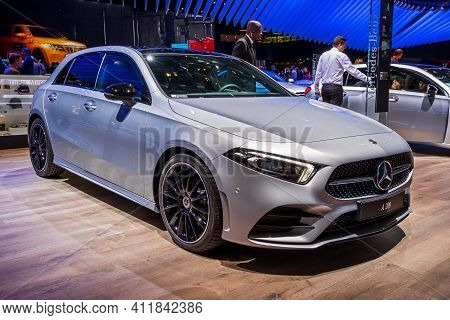 Mercedes Benz A 200 Hatchback Car At The Paris Motor Show In Expo Porte De Versailles. France - Octo