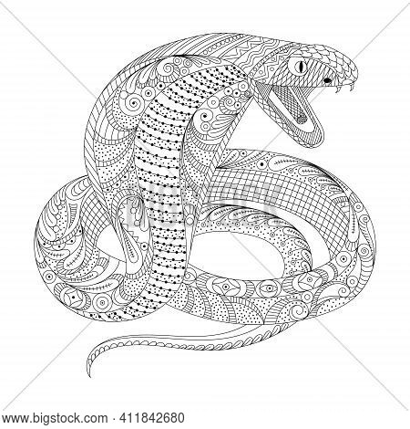 Clean Lines Doodle Design Of Cobra Snake For Adult Coloring, T-shirt Design, Tattoo, Children Colori