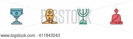 Set Christian Chalice, Man With Third Eye, Hanukkah Menorah And Buddhist Monk Icon. Vector