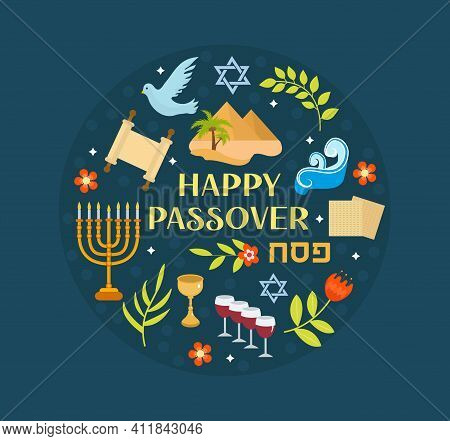 Passover Icons Set In Round Shape. Flat, Cartoon Style. Jewish Holiday. Collection With Matzah, Wine