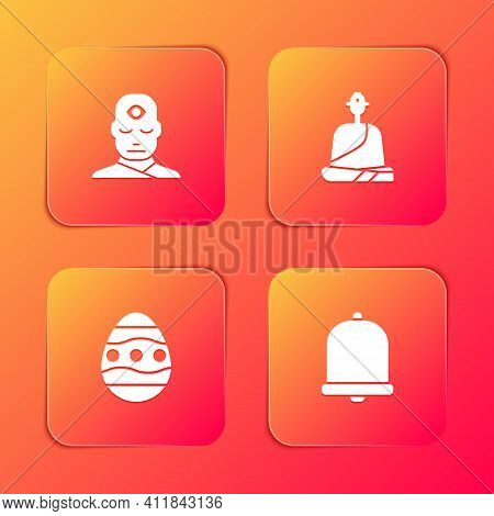 Set Man With Third Eye, Buddhist Monk, Easter Egg And Church Bell Icon. Vector