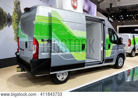 Fiat Ducato Commercial Vehicle At The Brussels Autosalon Motor Show. Belgium - January 18, 2019.