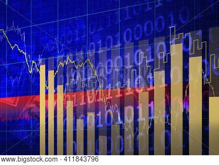 Statistical data processing over binary coding and american dollars on blue background. global finance and economy concept