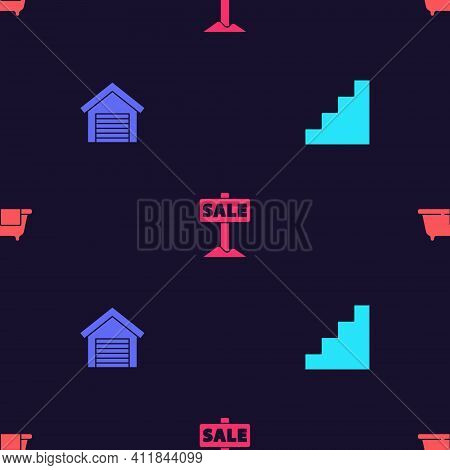 Set Staircase, Garage, Hanging Sign With Sale And Bathtub On Seamless Pattern. Vector