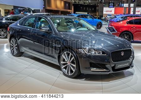 Jaguar Xf Prestige Car At The Brussels Autosalon Motor Show. Belgium - January 18, 2019.
