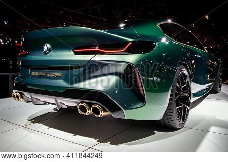 Bmw M8 Gran Coupe Sports Car Model Showcased At The Brussels Autosalon Motor Show. Belgium - January