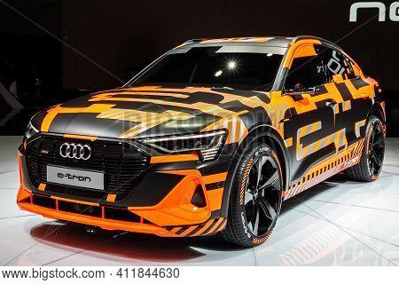 Audi E-tron Sportback Electric Suv Coupe Car Showcased At The 89th Geneva International Motor Show.