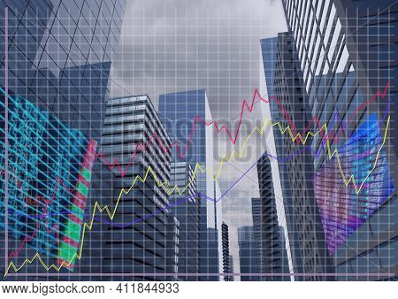 Multiple graphs over stock market data processing against tall buildings. global finance and economy concept