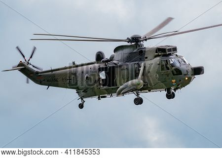 German Navy Sikorsky S-61 Sea King Rescue Helicopter Arriving At Nordholz Airbase. Germany - June 14