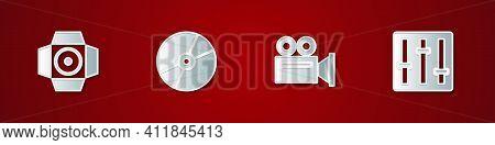 Set Movie Spotlight, Cd Or Dvd Disk, Cinema Camera And Sound Mixer Controller Icon. Vector