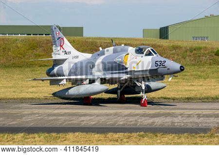 Nordholz, Germany - Jun 14, 2019: Discovery Air Defence Douglas A-4 Skyhawk Fighter Jet Plane On The