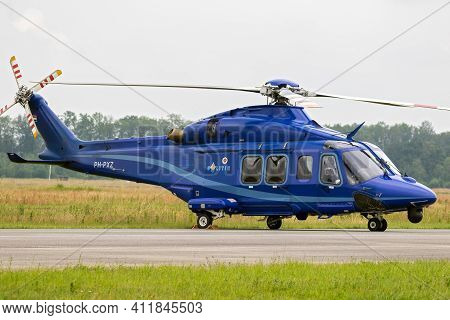 Volkel, Netherlands - Jun 15, 2019: Dutch Police Agustawestland Aw139 Helicopter On Display During T