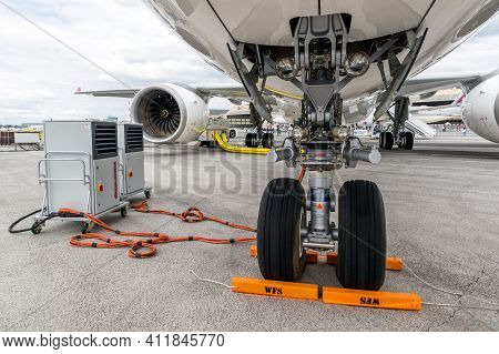 Nose Landing Gear On An Airbus A330 Passenger Plane. Le Bourget, France - June 20, 2019
