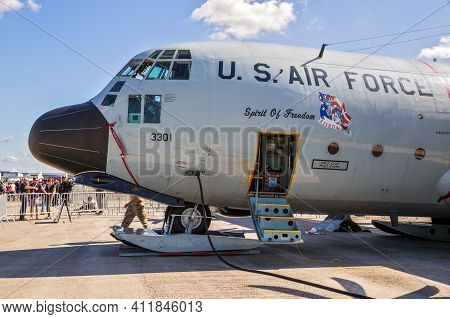 Us Air Force Ski-equipped Lc-130h Hercules Transport Plane Used For The Arctic And Antarctic At The