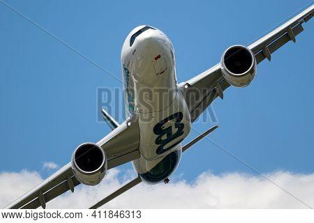 Le Bourget Paris - Jun 21, 2019: Airbus A330neo Airliner Plane Performing At The Paris Air Show.