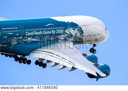 Special Painted Airbus A380 Passenger Plane I Flight During The Paris Air Show. France - June 21, 20