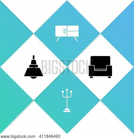 Set Chandelier, Coat Stand, Chest Of Drawers And Armchair Icon. Vector