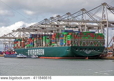 Container Ship From Evergreen Moored At The Ect Container Terminal In The Port Of Rotterdam. Septemb