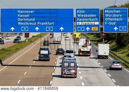 Traffic On A German Highway. German Autobahns Have No General Speedlimit And Rank As The Fifth Longe